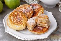 Фото к рецепту: Оладьи с яблочными колечками и корицей