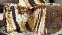 Фото к рецепту: Сливочно-творожный торт из печенья (без выпечки)