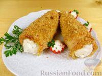 Фото к рецепту: Трубочки из куриного филе с сырным кремом