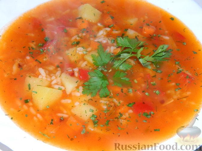 Суп с курицей и вермишелью и картошкой рецепт с томатной #4