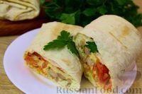 Фото к рецепту: Домашняя шаурма с курицей, грибами и сыром