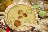 Фото к рецепту: Гороховый суп-пюре с маринованными огурцами и фрикадельками