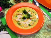 Фото к рецепту: Крем-суп из брокколи и тыквы с курицей и сухариками