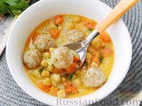 Фото к рецепту: Суп с нутом и фрикадельками, по-турецки