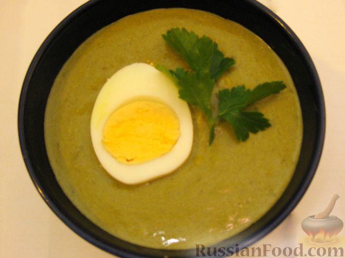 Рецепт Суп-пюре из щавеля с рисом и вареным яйцом