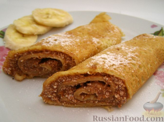 Рецепт Блины с бананом и шоколадом
