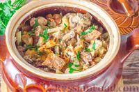 Фото к рецепту: Мясо, запечённое с грибами и картофелем, в горшочке