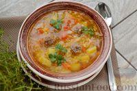 Фото к рецепту: Суп с мясными фрикадельками, капустой и пшеном