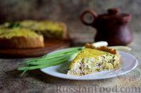 Фото к рецепту: Киш с консервированной сайрой и солёным огурцом