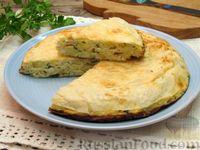 Фото к рецепту: Пирог из лаваша с картофелем, творогом и сыром (на сковороде)