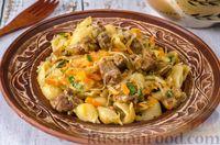 Фото к рецепту: Макароны с мясом и тушёной капустой