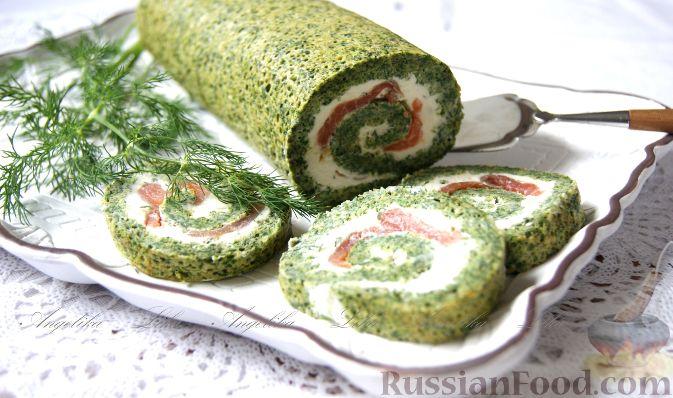 Рецепт Рулет из шпината, крапивы и одуванчика с творожным сыром и копчёным лососем