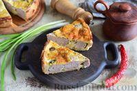 Фото к рецепту: Киш с мясными фрикадельками и зелёным луком