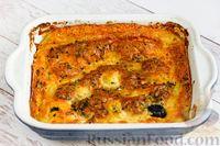 Фото к рецепту: Несладкая творожная запеканка без муки, с маслинами и сыром