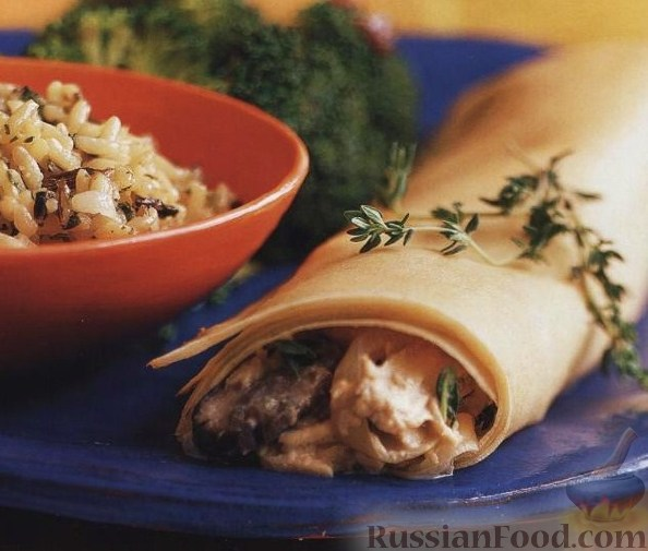 Рецепт Блинчики-крепы с курицей и грибами