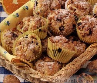 Рецепт Апельсиновые кексы с черникой и грецкими орехами