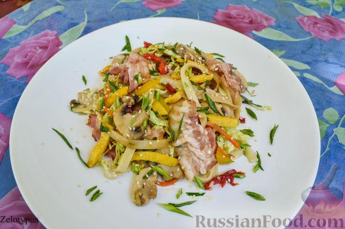 Рецепт Лапша удон с беконом и овощами