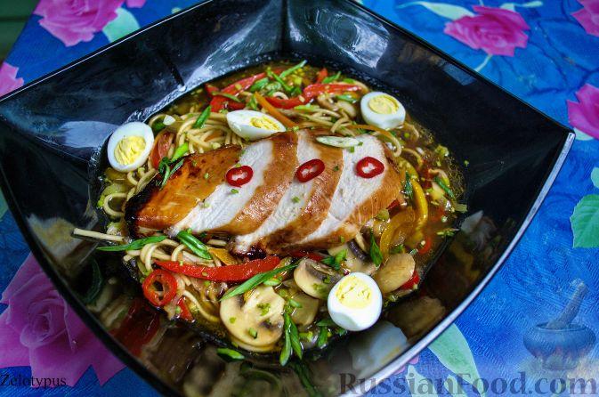 Рецепт Яичная лапша с курицей (по азиатским мотивам)