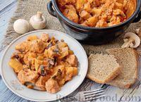 Фото к рецепту: Жаркое из картофеля с мясом и грибами