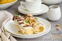 Фото к рецепту: Бананы в лаваше, с шоколадом и орехами