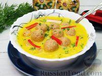 Фото к рецепту: Сырный суп с фрикадельками из крабовых палочек