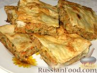 Фото к рецепту: Лавашный мясной пирог