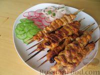 Фото к рецепту: Куриные шашлычки на шпажках, в кефирном маринаде (на сковороде)