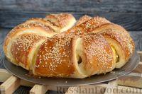 Фото приготовления рецепта: Слоёный пирог с беконом и яично-сырной начинкой - шаг №14
