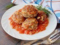 Фото к рецепту: Мясные тефтели с плавленым сыром, запечённые с помидорами
