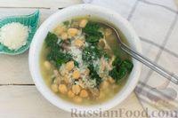 Фото приготовления рецепта: Суп с нутом, шпинатом и грибами - шаг №11