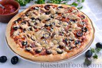 Фото к рецепту: Быстрая пицца с колбасой и сыром