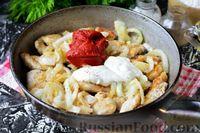 Фото приготовления рецепта: Бефстроганов из индейки, в сметанно-томатном соусе - шаг №9