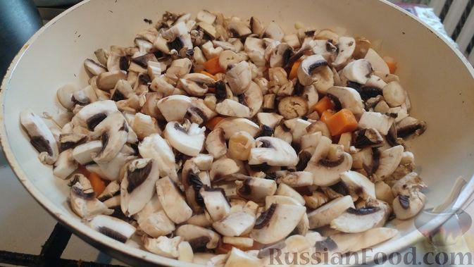 Куриное филе, запечённое с грибами, под слоёным тестом (в горшочках) нарезать, минут, горшочек, духовку, грибами, около, сковороду, крышкой, очистить, довести, шелухи, вымыть, полосок, тестом, небольшом, слоёным, куриное, снять, горшочкаТесто, среднем