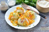 Фото к рецепту: Тефтели из риса и крабовых палочек, запечённые в овощном соусе
