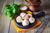 Фото к рецепту: Куриные тефтели с болгарским перцем и базиликом (в духовке)