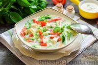 Фото к рецепту: Окрошка с куриным филе и помидорами