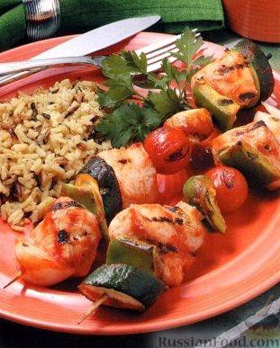 Рецепт Шашлыки из индюшиного филе и овощей