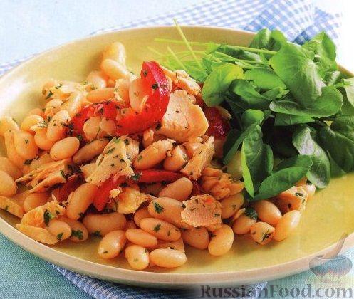 Рецепт Фасолевый салат с тунцом и перцем