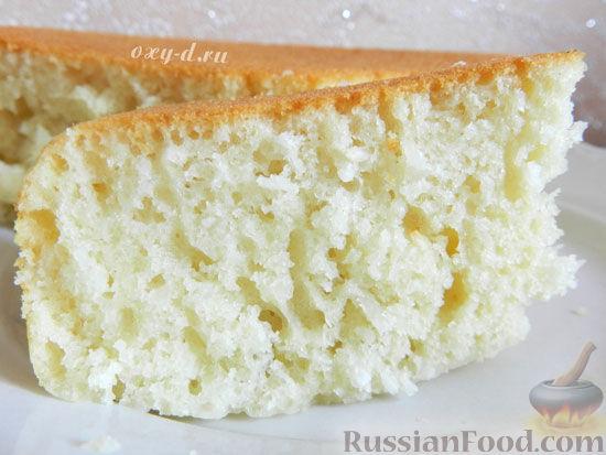 Рецепт Пышный кокосовый бисквит на кефире (в мультиварке)