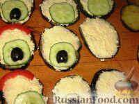 """Фото приготовления рецепта: Закуска из баклажанов """"Павлиний хвост"""" - шаг №7"""