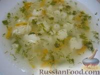 Фото к рецепту: Бульон с вермишелью и цветной капустой