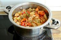 Фото приготовления рецепта: Рагу с курицей, баклажанами, картошкой и болгарским перцем - шаг №17