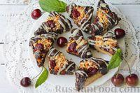 Фото приготовления рецепта: Песочное печенье с вишней, овсяными хлопьями, миндалём и шоколадом - шаг №21