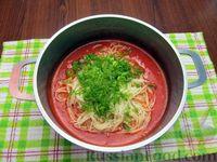 Фото приготовления рецепта: Томатный суп с вермишелью и зелёным луком - шаг №13