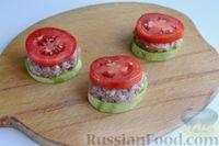 Фото приготовления рецепта: Кабачки с помидорами и фаршем, запеченные со сметаной и кетчупом - шаг №7