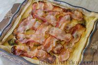 Фото приготовления рецепта: Киш с брокколи в яично-сырной заливке и беконом - шаг №13