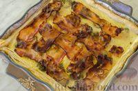 Фото приготовления рецепта: Киш с брокколи в яично-сырной заливке и беконом - шаг №14