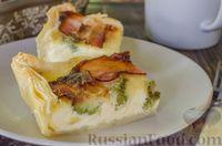 Фото приготовления рецепта: Киш с брокколи в яично-сырной заливке и беконом - шаг №15