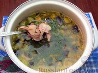 Фото приготовления рецепта: Куриный суп с шампиньонами и баклажанами - шаг №18