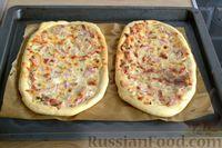 Фото приготовления рецепта: Открытые дрожжевые пироги с луком, ветчиной и сыром - шаг №18